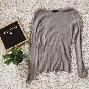 Trendy lace up sleeve oatmeal sweater soft  y2k